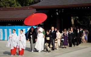 Japanese wedding. Meiji shine, Tokyo