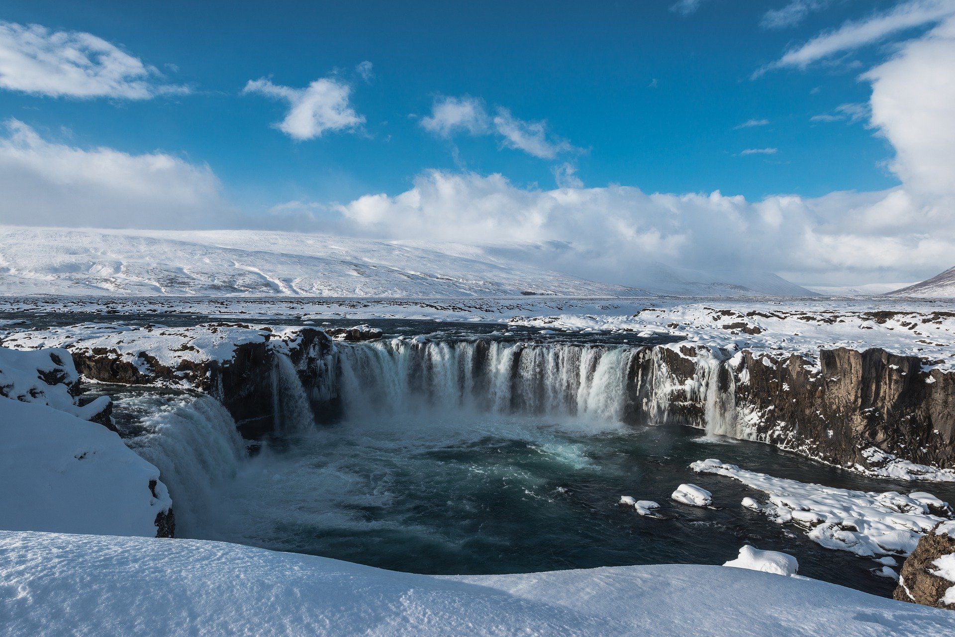 Iceland, nature, Goðafoss Waterfall